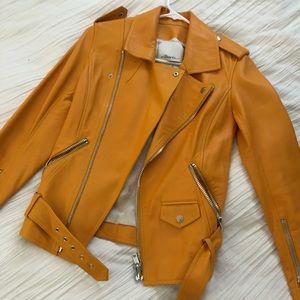 Phillip Lim yellow leather biker jacket